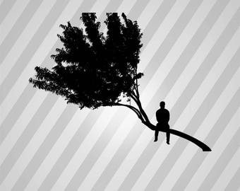 Man and Tree Silhouette - Svg Dxf Eps Silhouette Rld Rdworks Pdf Png Ai Files Digital Cut Vector File Svg File Cricut Laser Cut