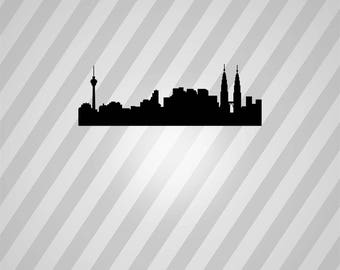 Malaysia Skyline Silhouette - Svg Dxf Eps Silhouette Rld RDWorks Pdf Png AI Files Digital Cut Vector File Svg File Cricut Laser Cut