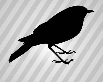 Bird Thrush Silhouette Birds - Svg Dxf Eps Silhouette Rld RDWorks Pdf Png AI Files Digital Cut Vector File Svg File Cricut Laser Cut
