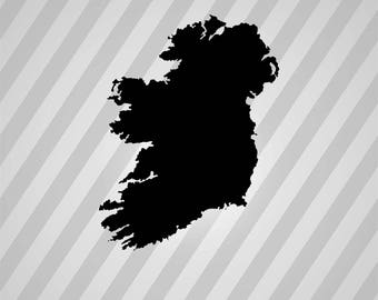 Ireland Map Silhouette Map - Svg Dxf Eps Silhouette Rld RDWorks Pdf Png AI Files Digital Cut Vector File Svg File Cricut Laser Cut