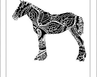Percheron Silhouette - Papercut Template Paper Cut Silhouette Pdf Line Art Cut Files