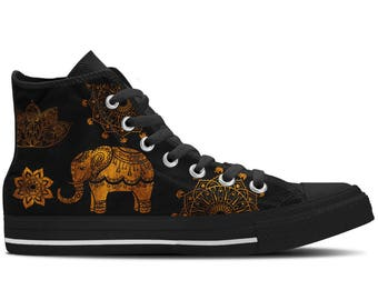 Women's High Top Sneaker with Elephant Design 'Indian Elephant' - Gold/Black