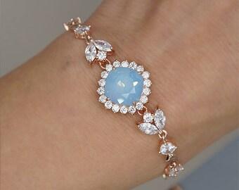 Rose Gold Bracelet, Bridal Bracelet, Blue Opal Bracelet, Rose Gold Wedding Jewelry, Swarovski Crystal Wedding Bracelet, bridesmaids bracelet
