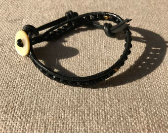 Black - Black leather bracelet with black crystal beads