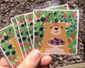Bear and Berries Medium Sticker