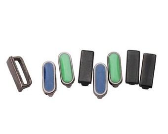 Hematite Spacer Sliders - Blue/Mint/Hematite Mix - 8 pieces