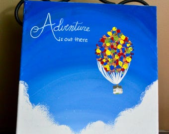 """canvas """"adventure is out there"""" from UP"""
