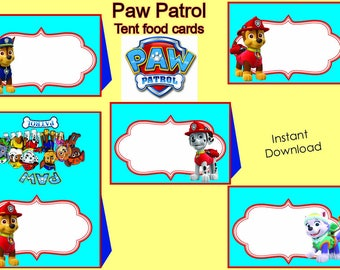 INSTANT DOWNLOAD-Paw Patrol food Labels, Food Labels, Buffet Labels, Tent Cards, Place Cards, Paw Patrol Birthday