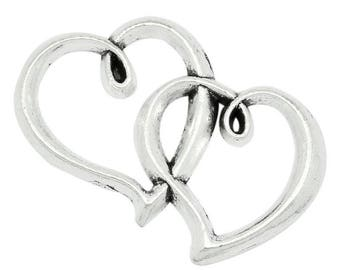 1 connector double heart antiqued silver tone metal 3.2 * 2 cm