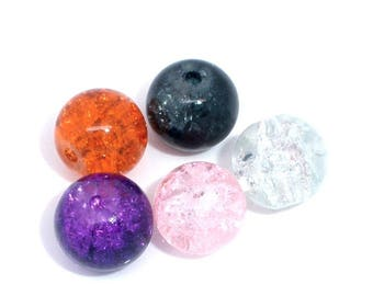 lot 10 mixed 8 mm Crackle glass beads