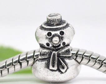 1 metal charm 13x10mm Bracelet pr snow snowman bead