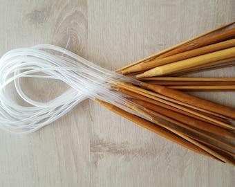 Has hand knit circular bamboo No. 6