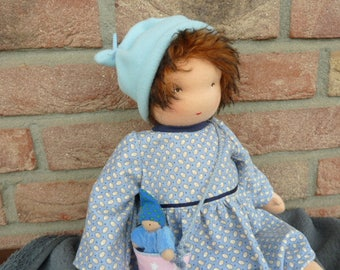"Waldorfpuppe ""Jule"", rag doll, baby doll, bag doll, bag, gift for girls, doll, doll, toy, blue,"