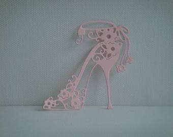 Cut out heel with small pale pink design for creating paper flowers
