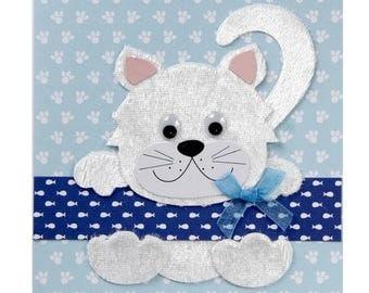White kitten birth/birthday card