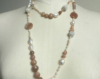 Necklace pearls and moonstone