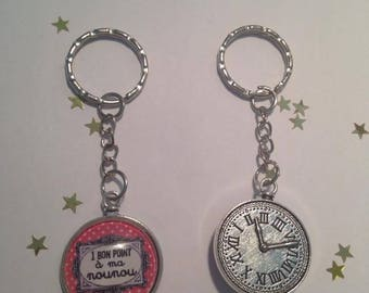 """Keychain Cabochon glass Metal """"A good Point to my nanny"""" free shipping"""