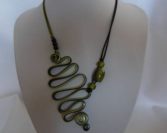 Necklace, aluminum wire and glass beads in black and olive green.