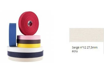 Ribbon, Twill, cotton, ecru, 27.5 mm, strap, tote bag