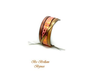 4 rows, copper, coral, dark gold leather Cuff Bracelet
