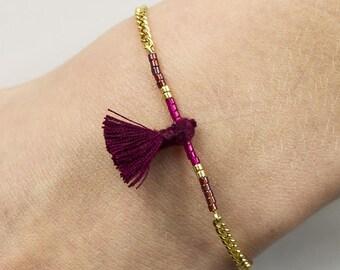 Akita, Pompom French wine - Japanese Beads Bracelet