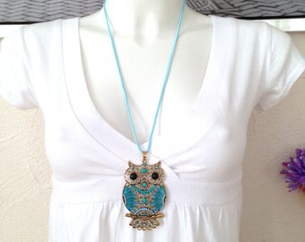 This boho necklace large OWL pendant turquoise and blue OWL