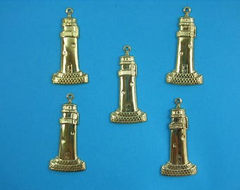 SET 5 CHARMS METALS Gold: Lighthouse 32 mm