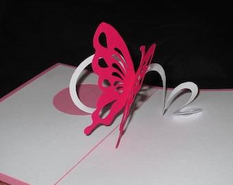 Card 3D spiral Butterfly flitting Kirigami