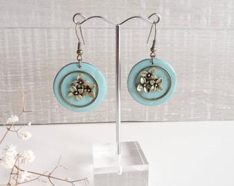 Earrings turquoise enamelled light effect