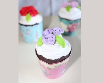 Cup cake, chocolate whipped cream white, pink lilac