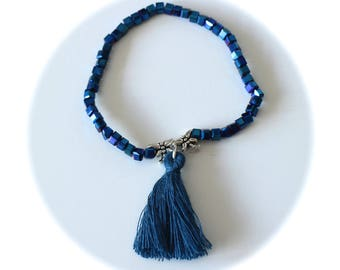 LIPIKI DIY KIT: bracelet lucky square blue beads beads cotton tassel and silver dragonflies