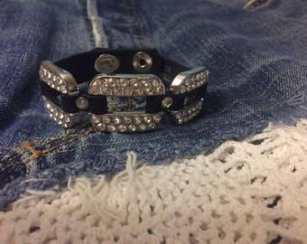 Funky Leather Band Bling Bracelet, Genuine Leather Band and Rhinestone! Fun!