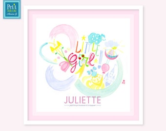 LITTLE GIRL - Personalized name painting framed - gift - decor nursery kids baby