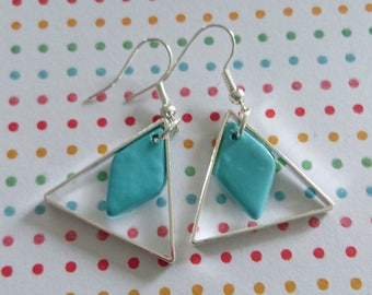 TRIANGLE TURQUOISE earrings in polymer clay