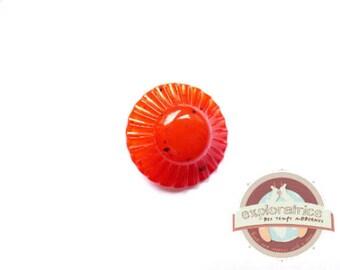 Transparent orange retro round button 25 mm vintage