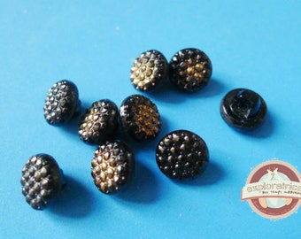 9 buttons in glass black and gold 12 Mm round retro