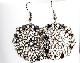 fancy silver filigree stamp earrings