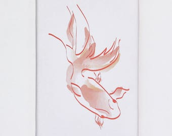 """Table wall goldfish, print on canvas """"Bubulle"""" 20 x 30"""