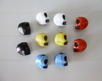 10 skull beads skeleton skull color resin