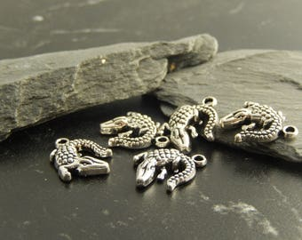 2 silver alligator charms