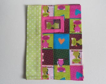 Notebook with cats, with label holder, fully lined with pink fabric design cover