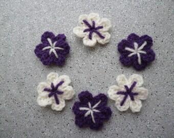 Handmade 6 crochet wool off white and purple flowers