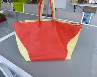 Two-tone Tote leather bag