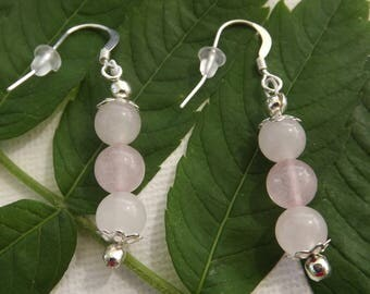 rose quartz round beads earrings