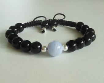 semi-precious onyx and chalcedony gem stone bracelet