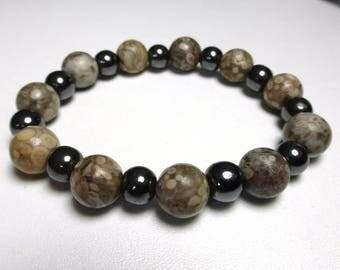 Fossil stone inlay and hematite bracelet