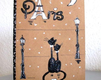 Book illustration Paris - made notebook - cat notebook hand painted