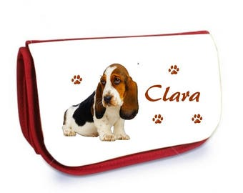 Cosmetic case red /crayons Basset personalized with name