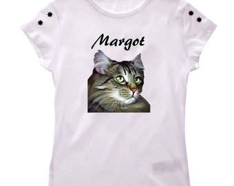 T-shirt for girl cat maine coon personalized with name