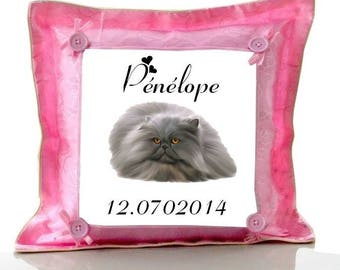 Cushion Pink Persian Cat personalized with name